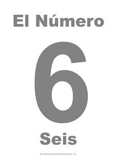 Lámina para imprimir el número seis en color gris