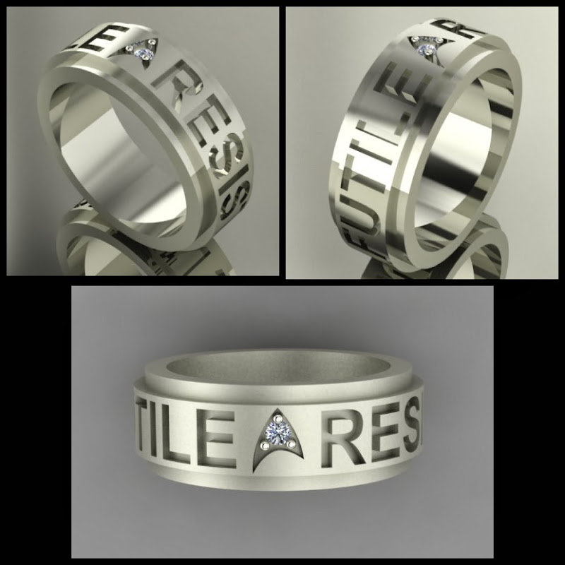 Star Trek Insignia Ring, Borg Quote RESISTANCE IS FUTILE: Sans serif font