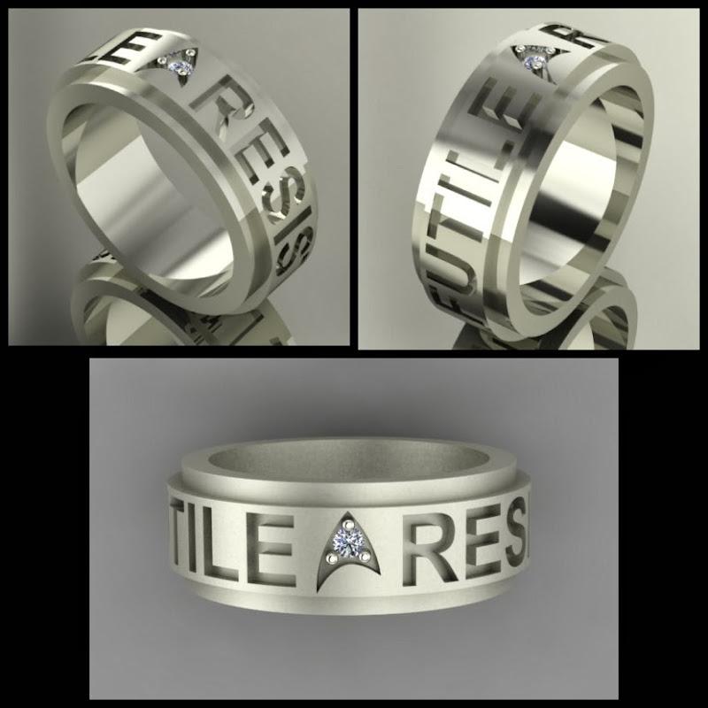 Star Trek Insignia Ring, Borg Quote RESISTANCE IS FUTILE: Sans serif font