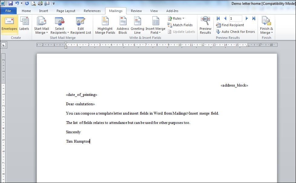 News Saving A Mail Merge In Sims