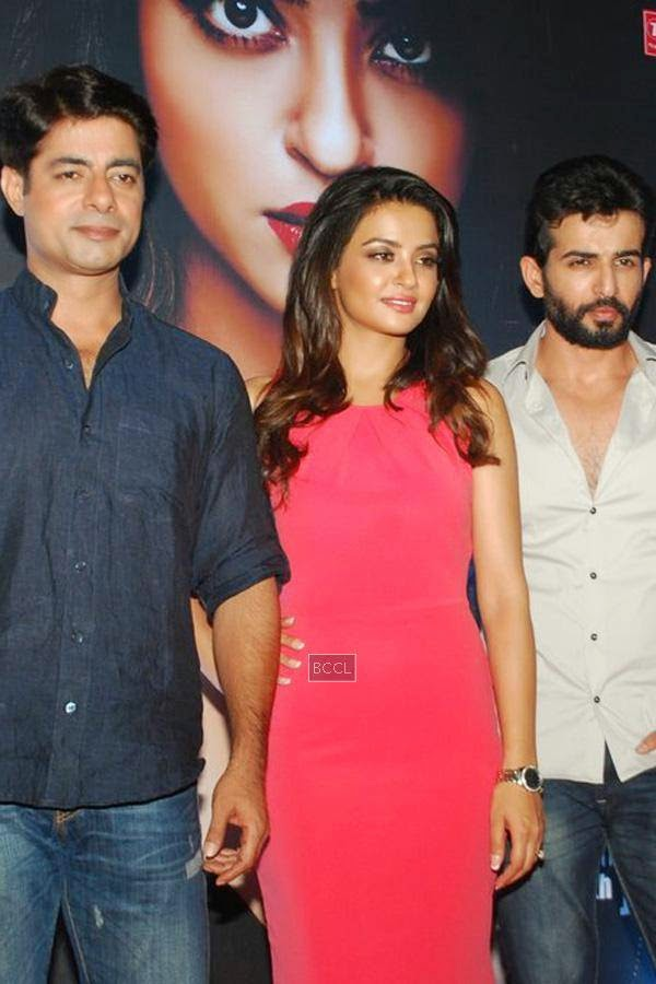 Sushant Singh, Surveen Chawla and Jay Bhanushali pose for the lensmen during the promotion of Bollywood movie Hate Story 2, held in Mumbai, on July 12, 2014. (Pic: Viral Bhayani)