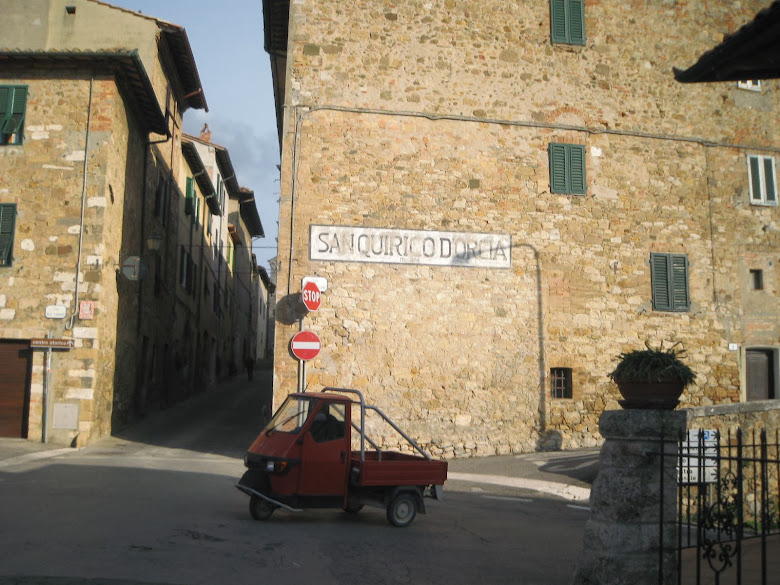 An Ape three-wheeler in San Quirico d'Orcia