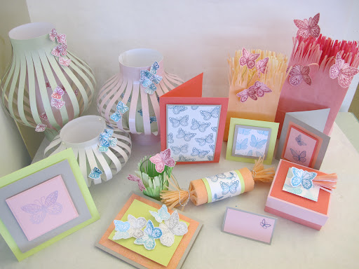 Projects created with the Glitter Embossing Kit (not part of giveaway).