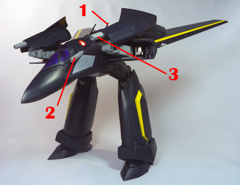 Macross 7 VF-17S VF-17S Nightmare Armament weapon position