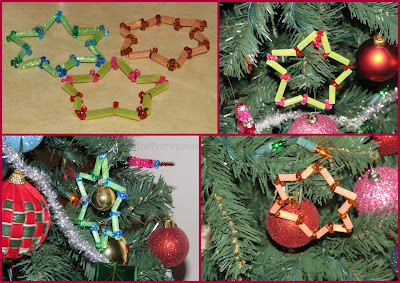Straw, Tri beads, Glitter stick Star ornaments