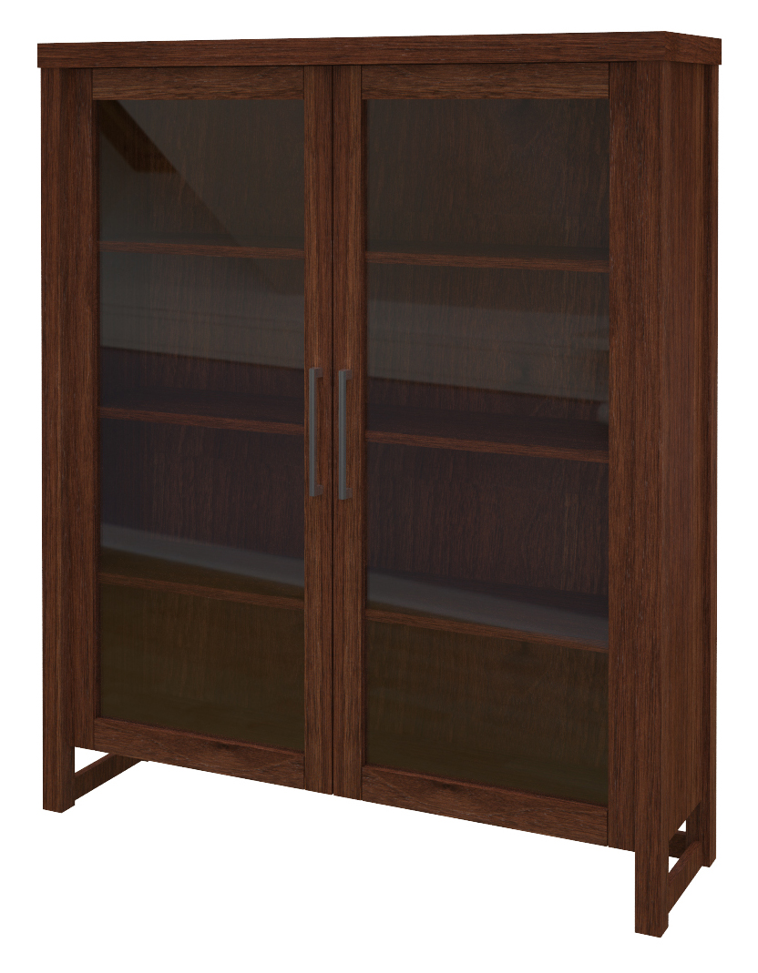 Sumatra Glass Door Bookshelf In Temperance Walnut. «»