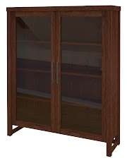 Walnut Glass Door Bookshelves