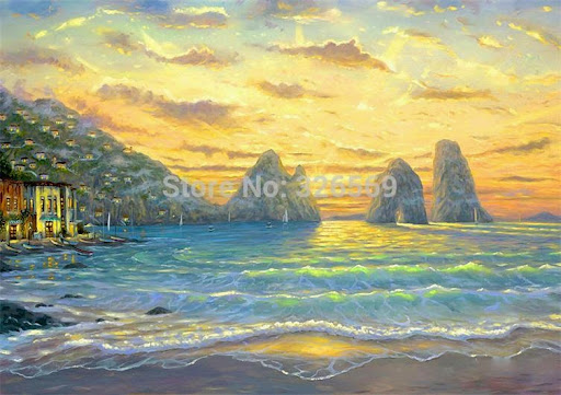 wall art sea waves printed oil painting on canvas WK--