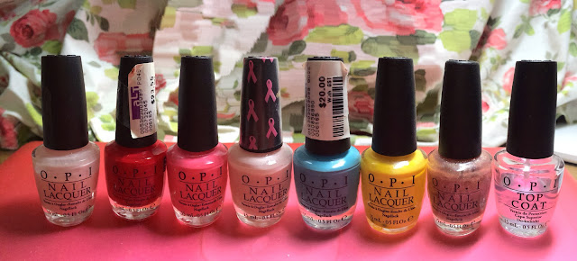 Pink, Pastel Pink, Elephantastic Pink, Red, Blue, Yellow, Top Coat, Glitters