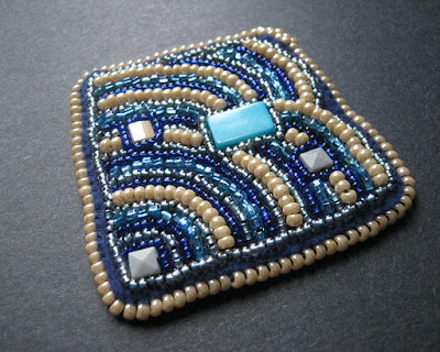 Bead Embroidery Pendant with Square Stitch Trim