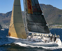 J/133 racer cruiser sailboat- sailing off Cape Town, South Africa