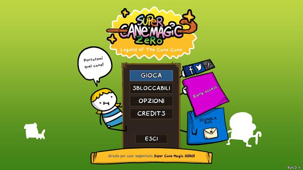 La schermata iniziale di Super Cane Magic ZERO