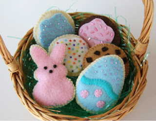 bunny, egg, chocolate chip, sprinkle felt cookies