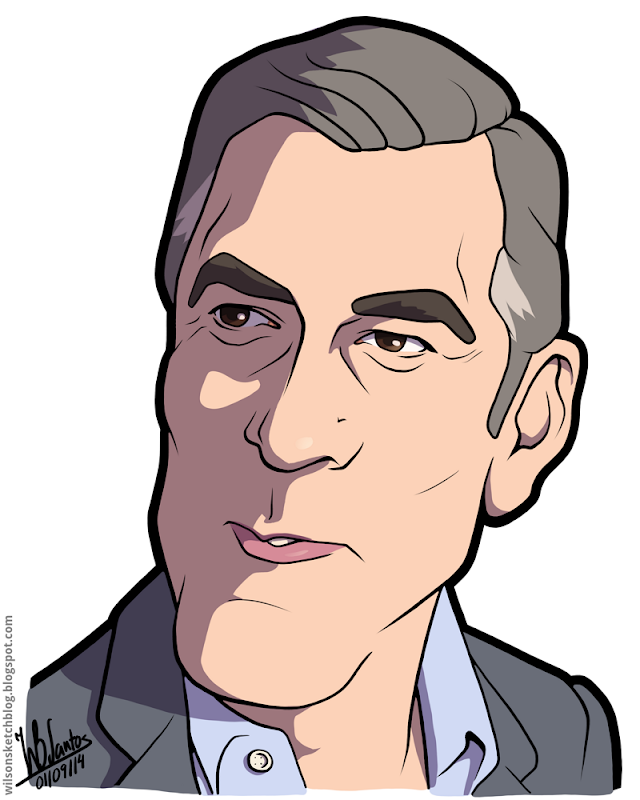 Cartoon caricature of George Clooney.
