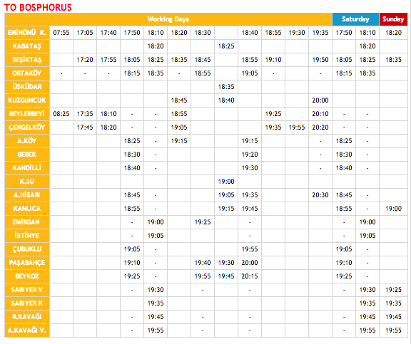 Bosphorus Ferry Schedule