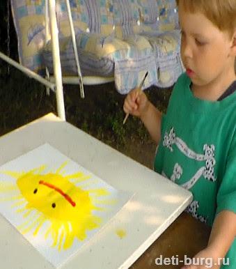 Рисуем солнце маме