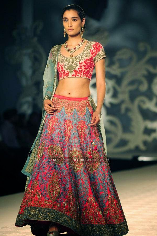 Kanishtha walks the ramp for Varun Bahl walks the ramp on Day 3 of India Couture Week, 2014, held at Taj Palace hotel, New Delhi.<br />