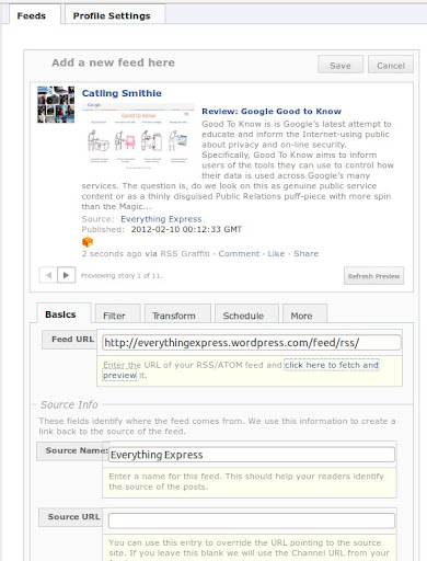 Add RSS Feeds to Facebook using RSS Grafitti