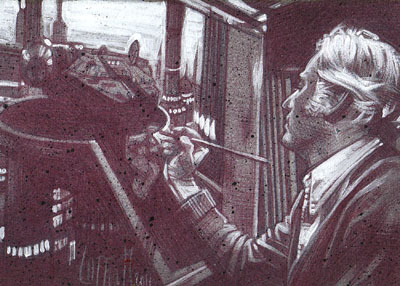 Ralph McQuarrie (Pencil study) ACEO Sketch Card by Jeff Lafferty