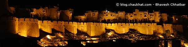 Panoramic view of the Fort of Jaisalmer illuminated at night in the royal style