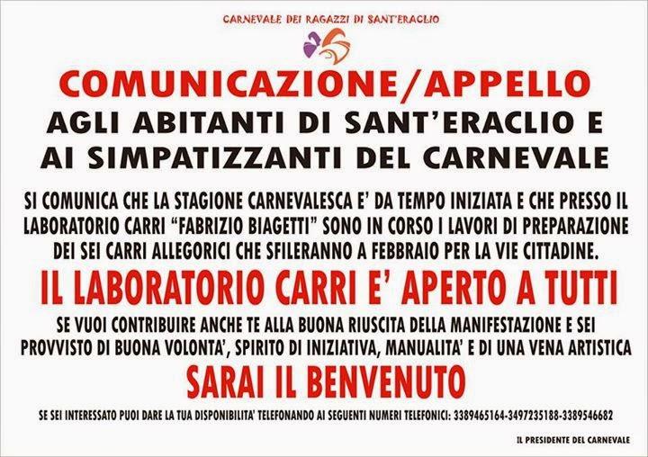 Appello del Carnevale dei ragazzi di S.Eraclio