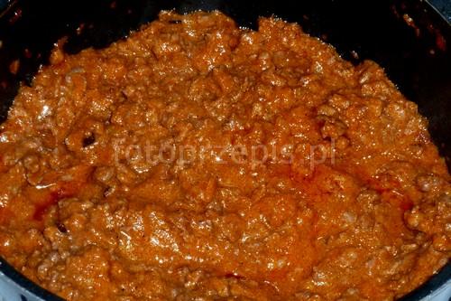 Sos bolognese (Ragù Bolognese) wloska wieprzowina obiad latwe kolacja jednogarnkowe europejska danie glowne  przepis foto