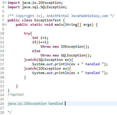 Java exception handling tutorial with example programs