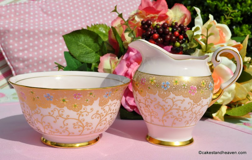 Tuscan vintage pink china creamer and sugar bowl with gold decoration