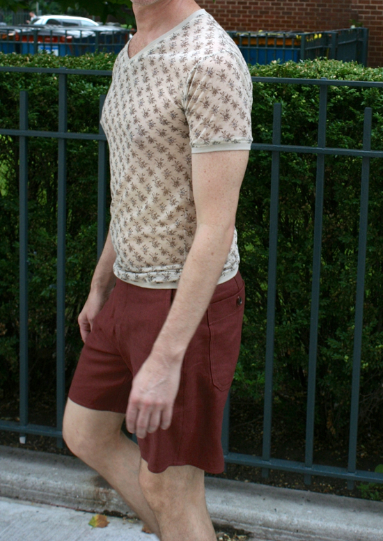rayon knit tee and linen shorts