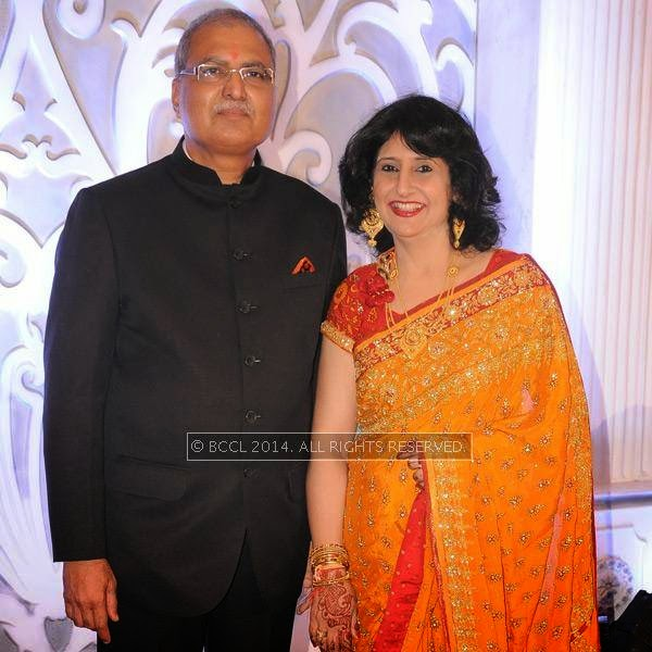 Madhu and Leena Rughwani during Richa-Gaurav Rughwani's wedding reception, held in Nagpur.