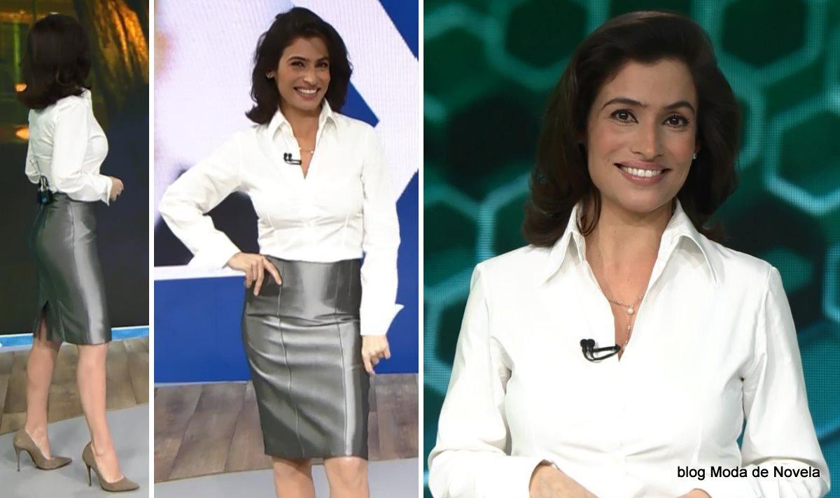 moda do programa Fantástico - look da Renata Vasconcellos dia 22 de junho