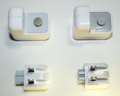 Real (left) and counterfeit (right) iPad chargers