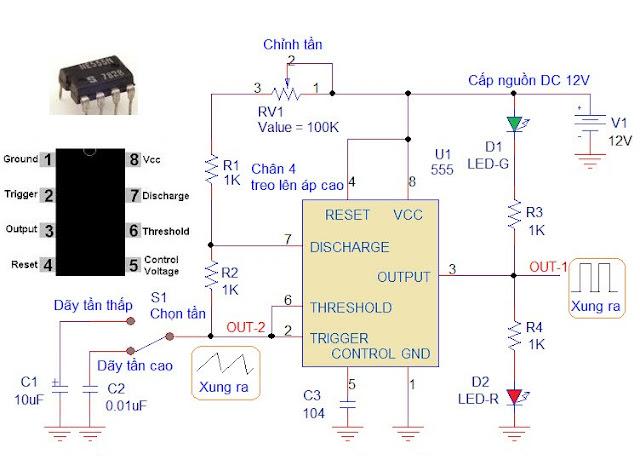 555 Ứng dụng: mạch tạo xung bằng IC 555.