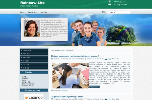 Free Joomla Green Blue Family Theme Template