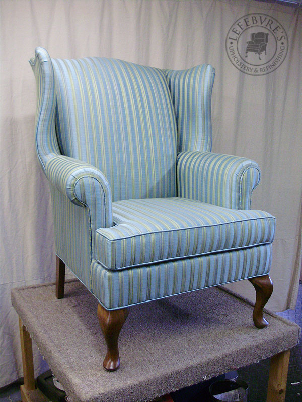 Lefebvre S Upholstery Striped Wing Chair Light Blue