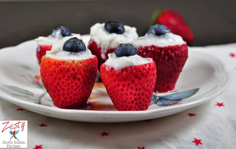 Strawberry, blueberry with cream: Red white and blue dessert