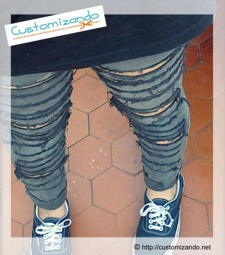Customização - calça rasgada