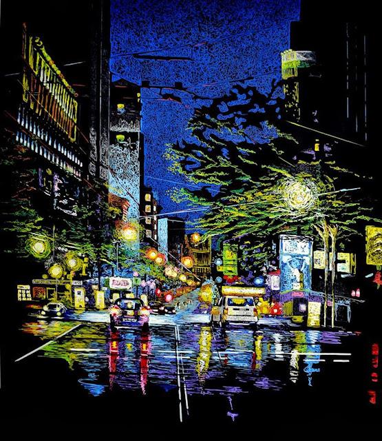 pintura de Fernando Jiménez,Avenida Selenita 101