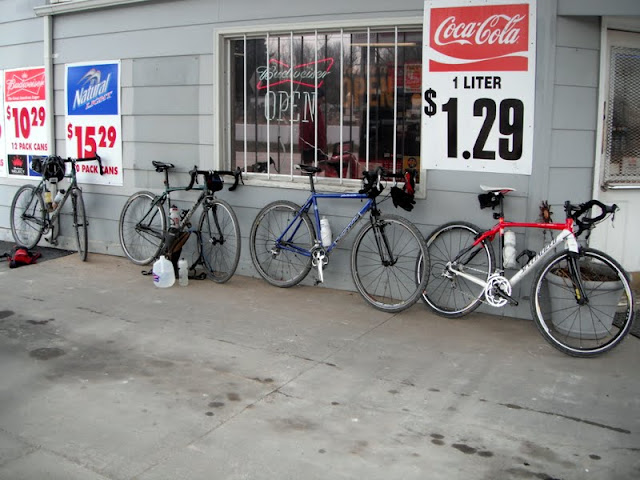 Bikes at a gas station