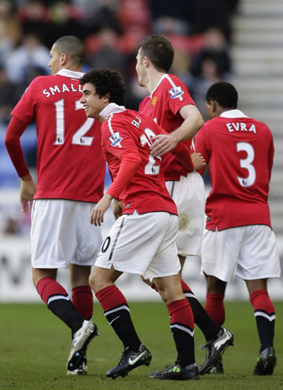 Fabio da Silva, Chris Smalling, Michael Carrick, Patrice Evra