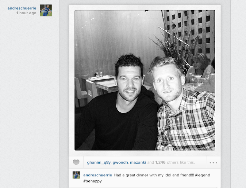 Andre Schurrle went out for dinner with Michael Ballack this evening [Instagram picture]
