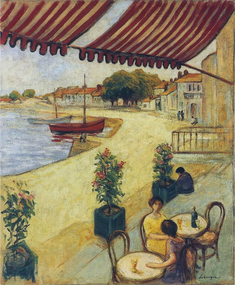 Henri Lebasque - Cafe in the port