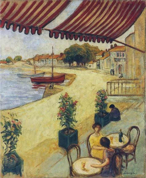 Henri Lebasque - Cafe in the port