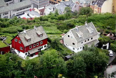 Houses in Bergen Norway from above