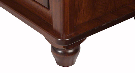 Lotus Nightstand in Ruby Walnut, Base Detail Closeup