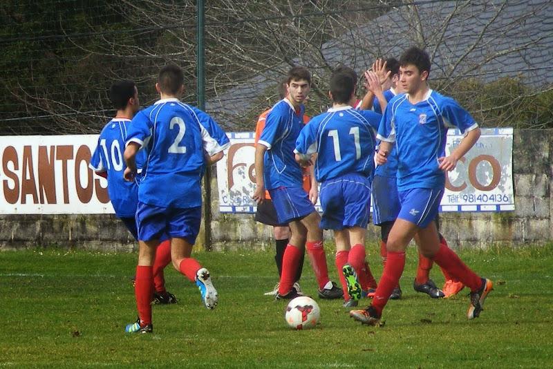 Numancia de Ares. Os xuvenís celebrando un gol.