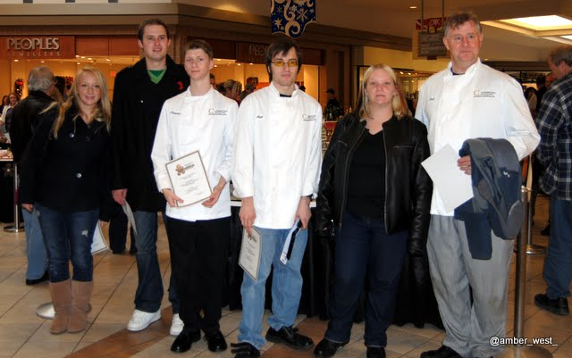 Brother (the one in the center), classmates, and a prof at a baking competition