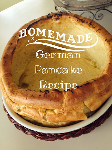 German pancake recipe, fluffy pancake, german. Pancake served with fruit, dutch baby