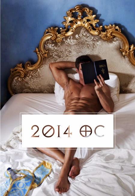 Puskaili, kalendāra vāks, kails priesteris lasa bībeli