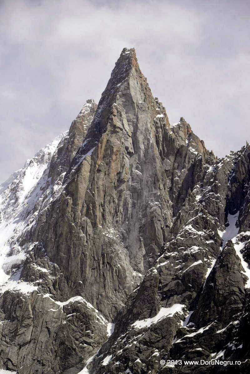 An imposing mountain near the Mont Blanc, in the French Alps